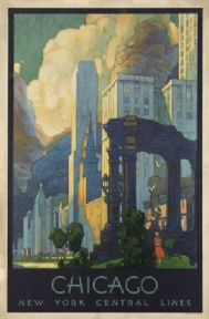 Vintage Chicago, New York Central Lines, Travel Poster.